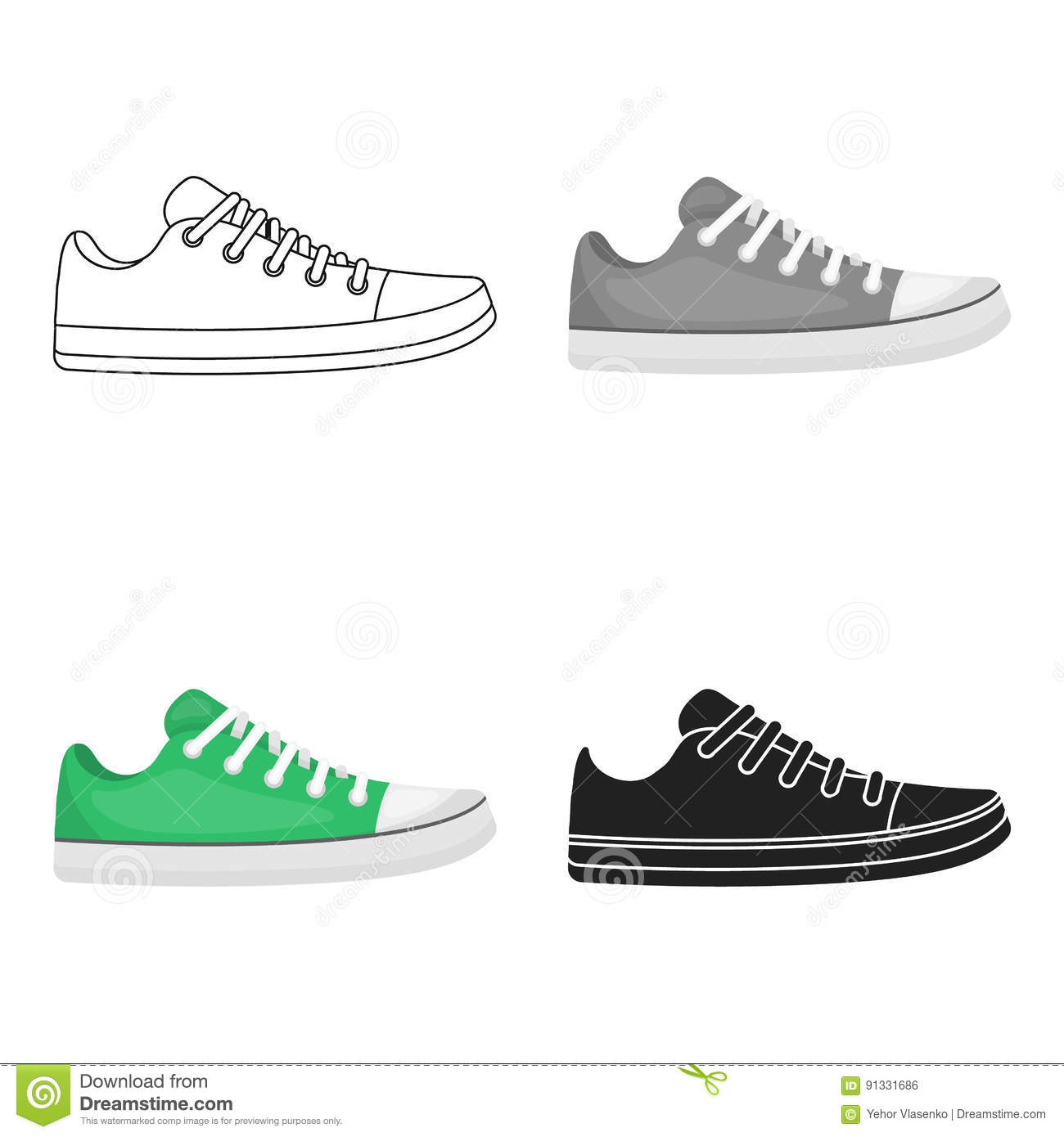 Gumshoes Icon In Cartoon Style Isolated On White Background Shoes