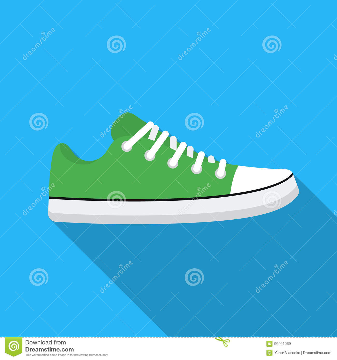 Gumshoes Icon In Flat Style Isolated On White Background Shoes