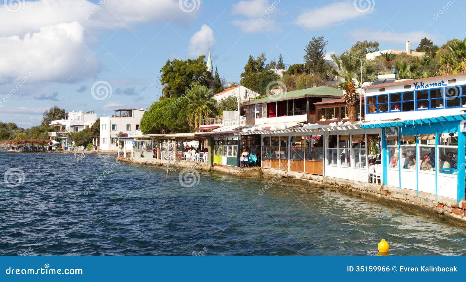 Mugla Turkey  City new picture : restaurants of Gumusluk village on October 18, 2013 in Mugla, Turkey ...