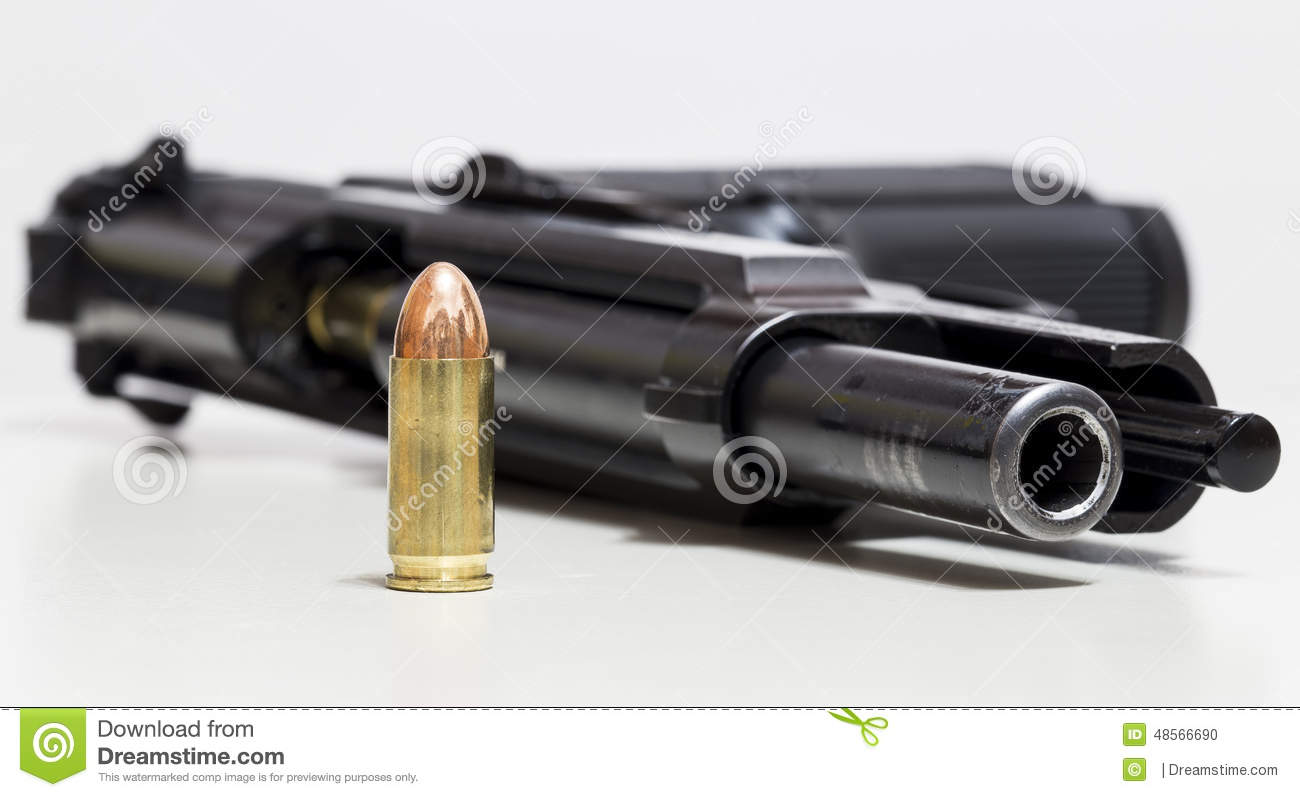 Gun and Bullet stock photo  Image of 92fs, bullet, 98fs - 48566690