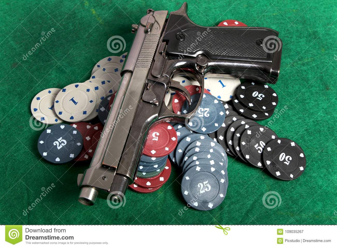 Gun and gambling stock image  Image of danger, casino