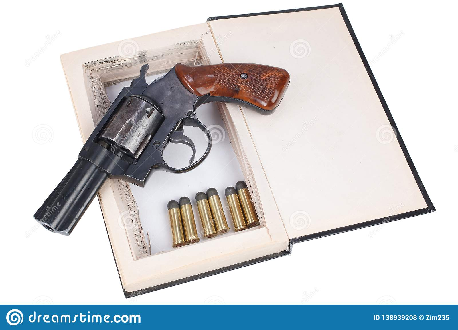 A gun hidden inside a book stock photo  Image of break