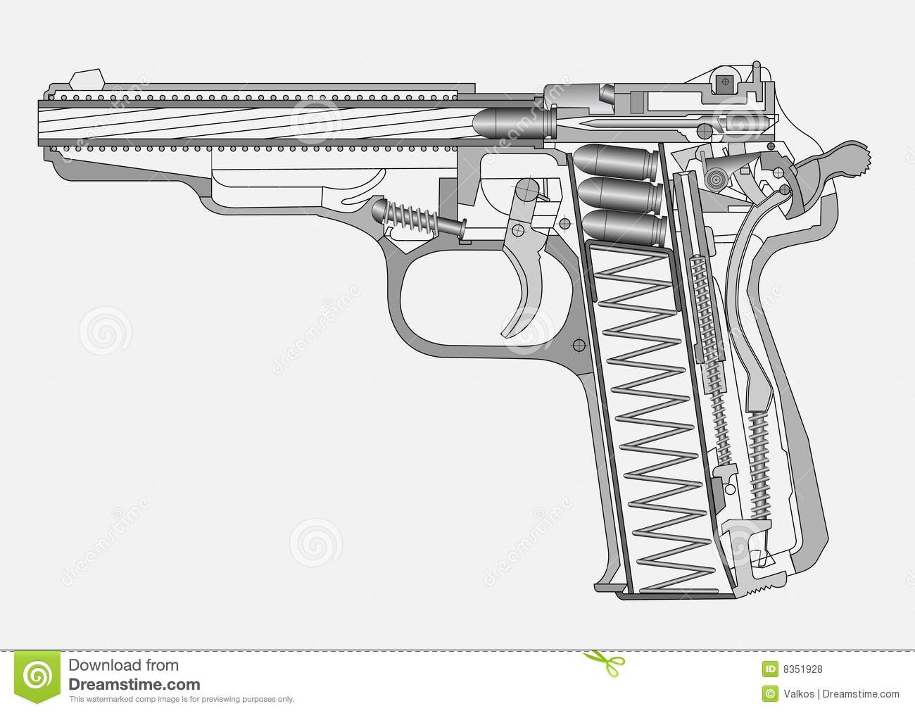 Blueprint Floor Plan Gun Illustration Stock Vector Image Of Bullet Design