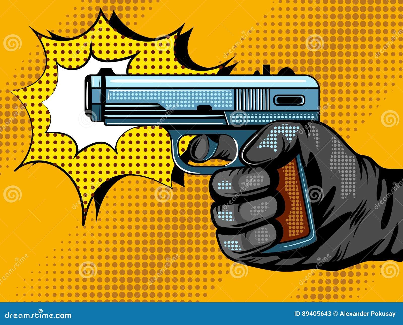 Gun Shooting Pop Art Vector Illustration Stock Vector