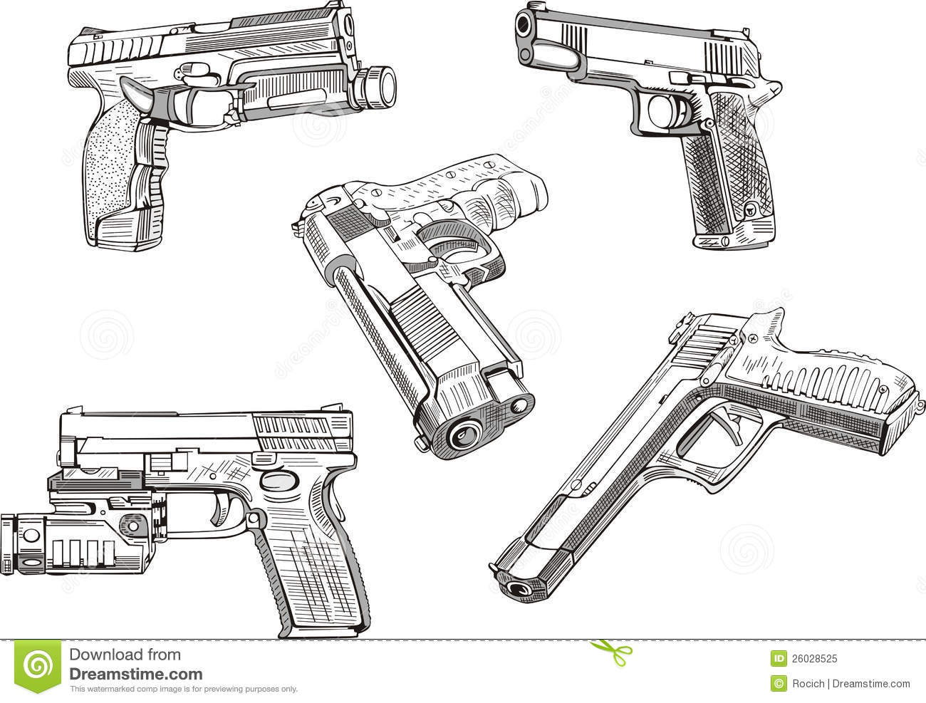 Gun sketches set of black and white vector illustrations