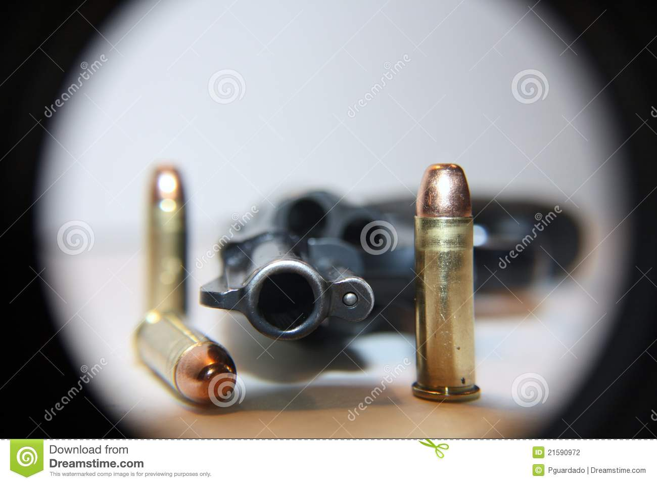 Gun on table with bullets stock photo. Image of lying ...