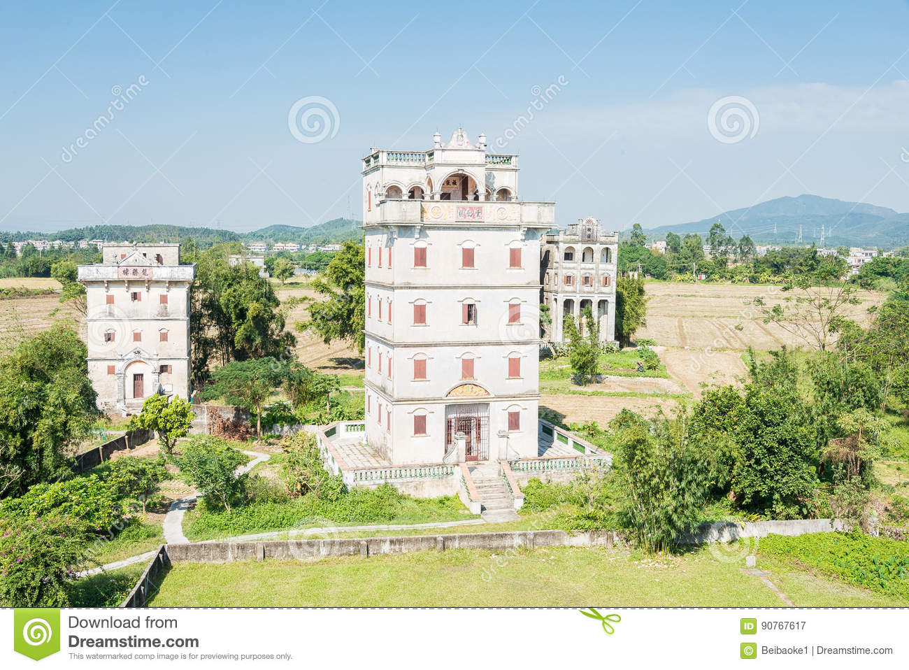 GUNAGDONG, CHINA - Dec 17 2015: Zili Village (UNESCO World Heritage site). a famous historic site in Kaiping, Guangdong, China.