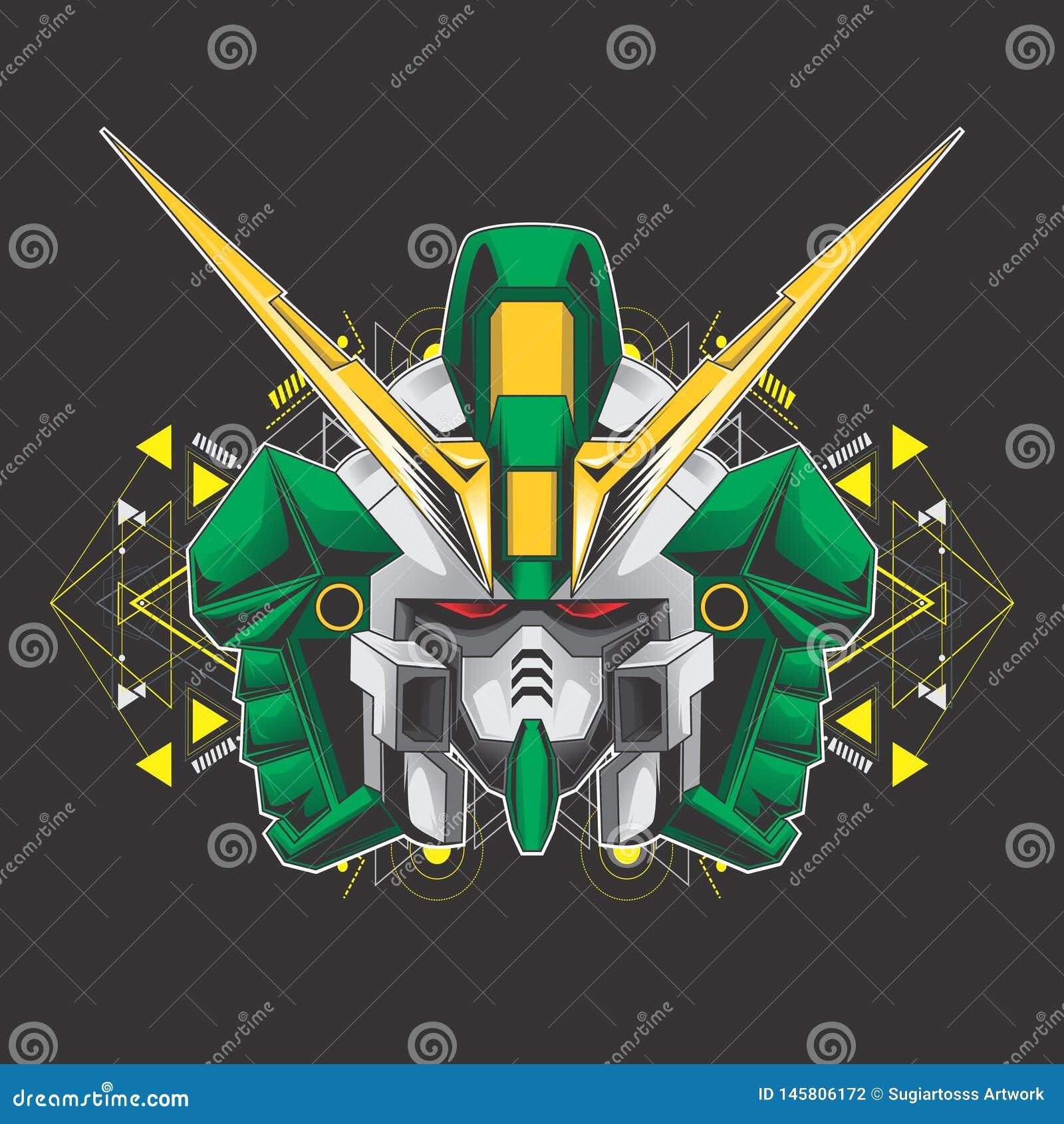 Green gundam head