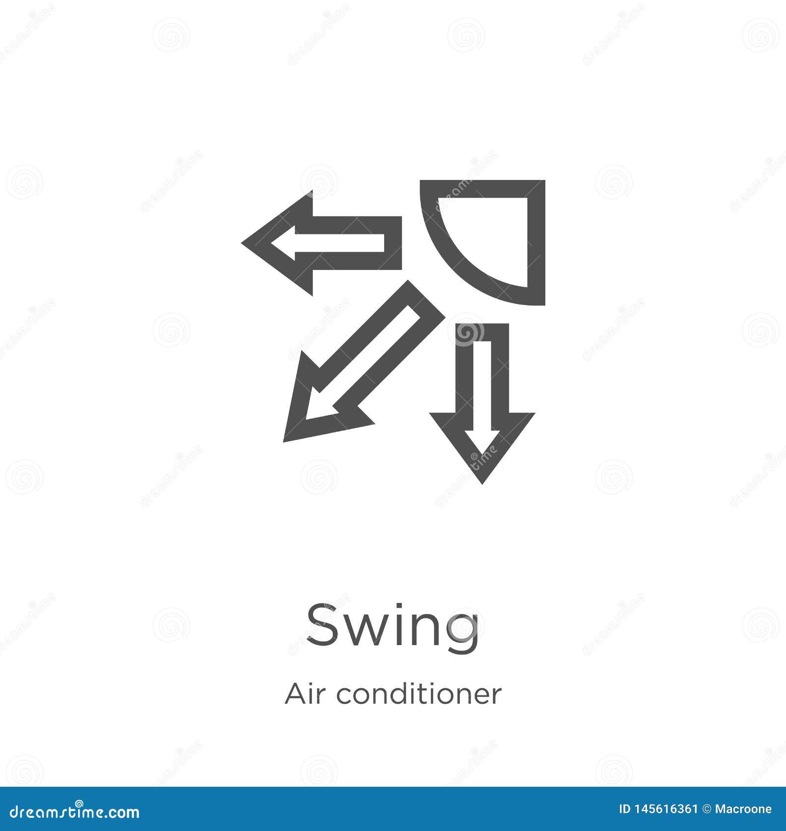Gungasymbolsvektor från luftkonditioneringsapparatsamling Tunn linje illustration för vektor för gungaöversiktssymbol Översikt tu