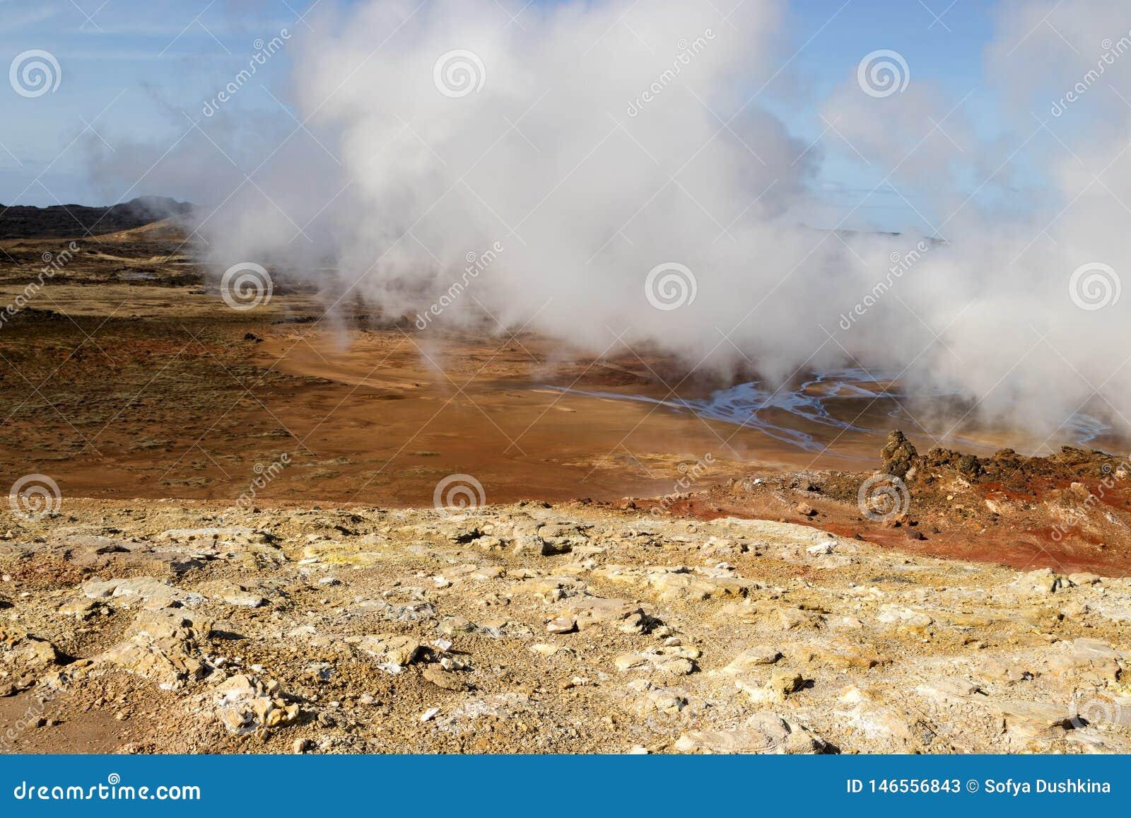 Gunnuhver geothermal area in Iceland. Geyser steam