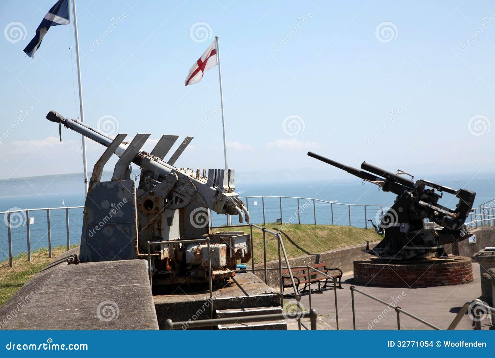 nothe fort guns armaments overlooking aircraft anti coast england south