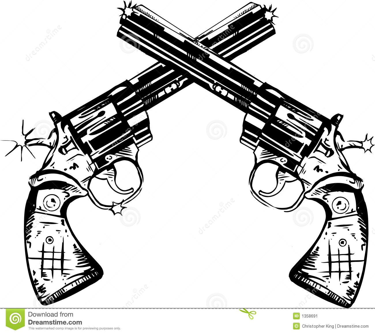 Guns Illustration stock vector. Illustration of shot ...