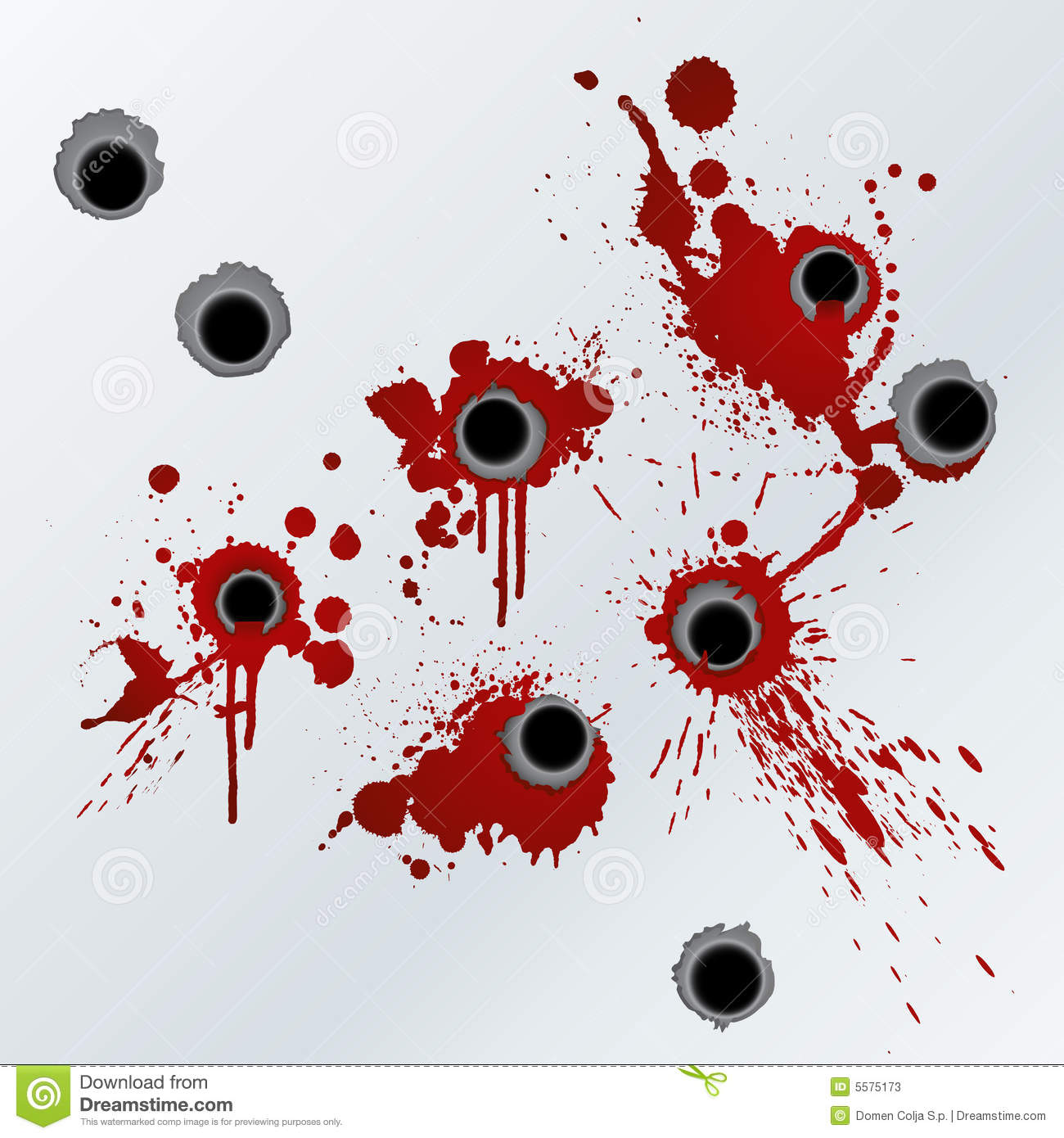 Vector illustration of bloody gunshots with blood splatters on the ...