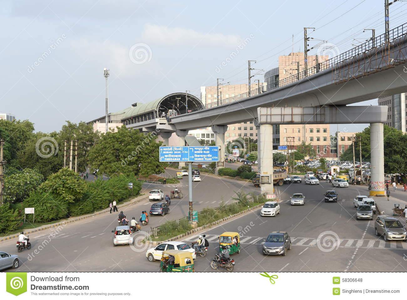 Gurgaon, Delhi, India: August 22nd 2015: Modern infrastructure offering better connectivity to public