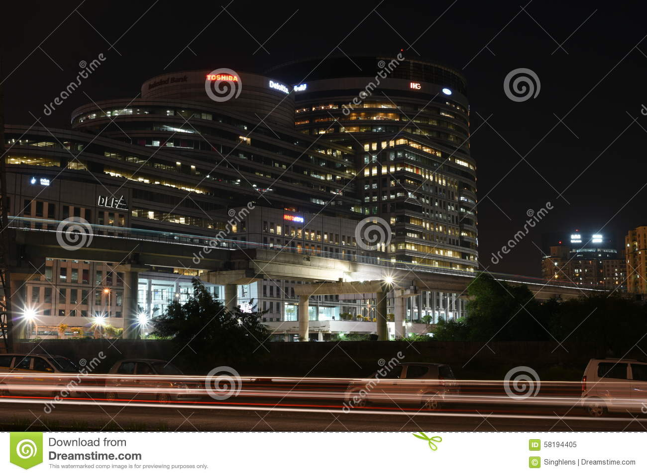 Gurgaon, India: Aug 15th, 2015:Famous DLF Office Complex in Gurgaon during night hours