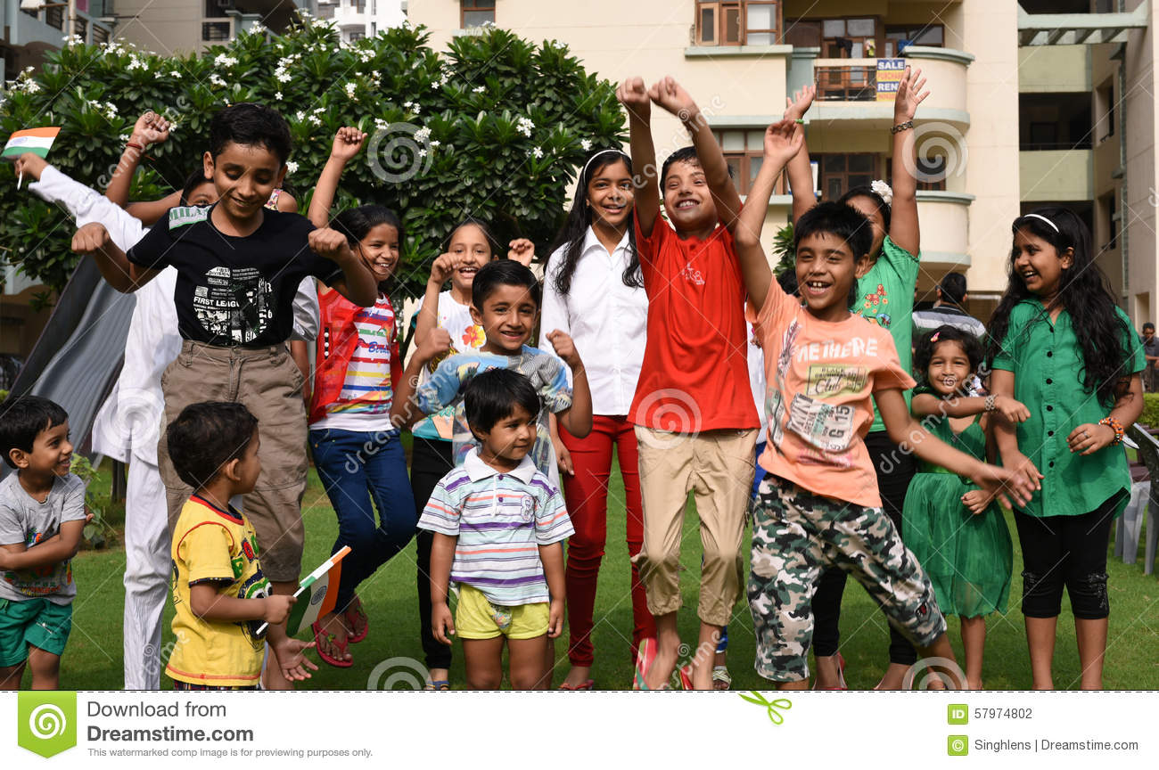 Gurgaon, India: August 15th, 2015: Youth of India celebrating and having fun on 69th Independence day of India