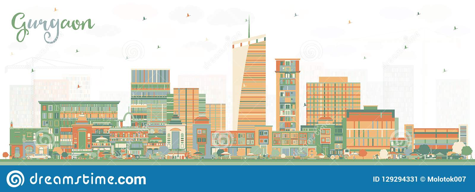 Gurgaon India City Skyline with Color Buildings.