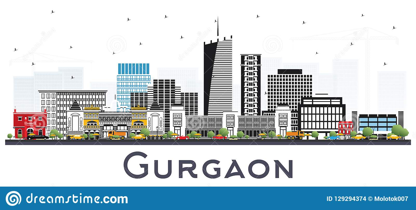 Gurgaon India City Skyline with Gray Buildings Isolated on White