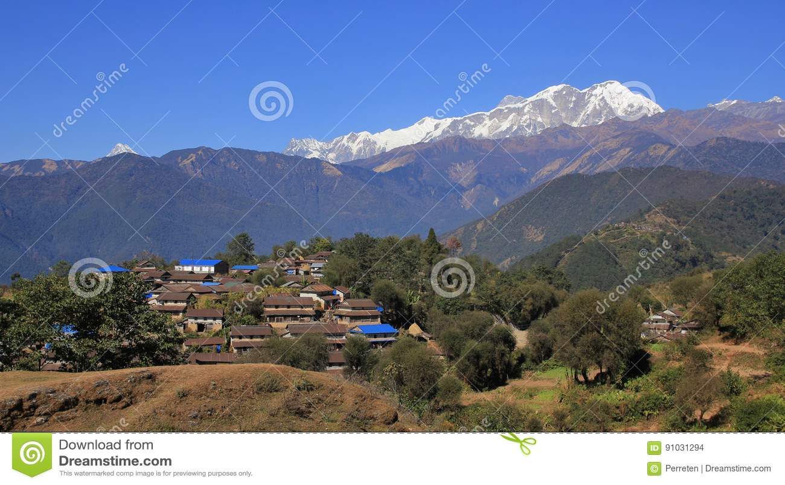 Gurung village Ghale Gaun and Annapurna range