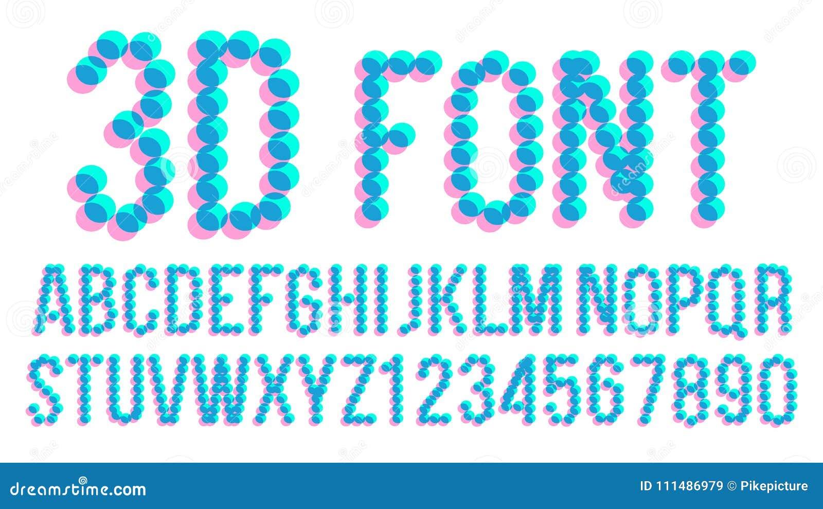 Guss Vektor Des Pixel 3d Futuristisches Alphabet Abc Anaglyphic