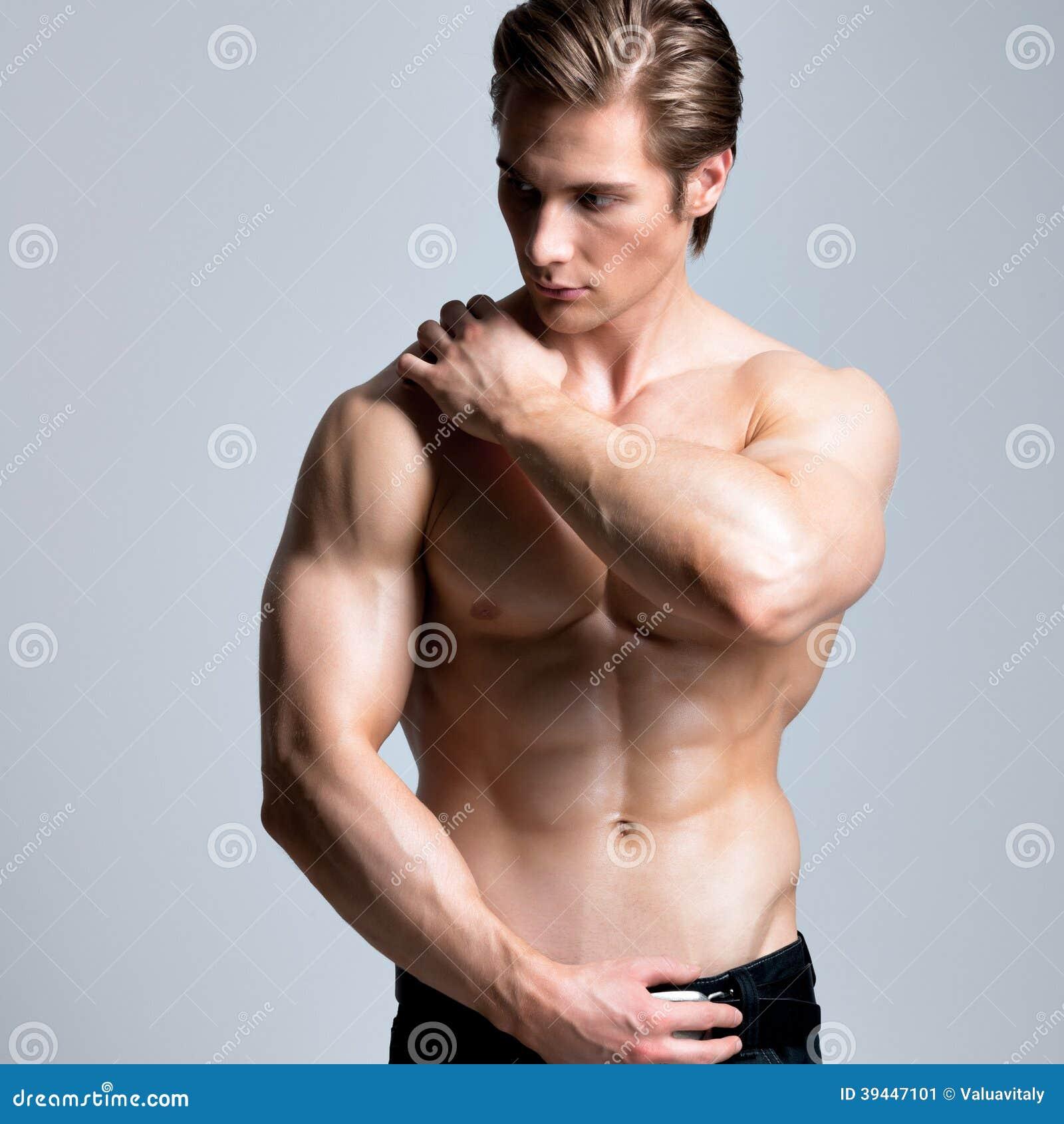 Gut Aussehender Mann Mit Sexy Muskulösem Schönem Körper