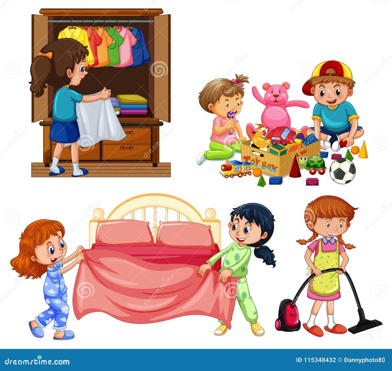 Gute Kinder Die Hausarbeit Auf Weißem Hintergrund Tun Vektor