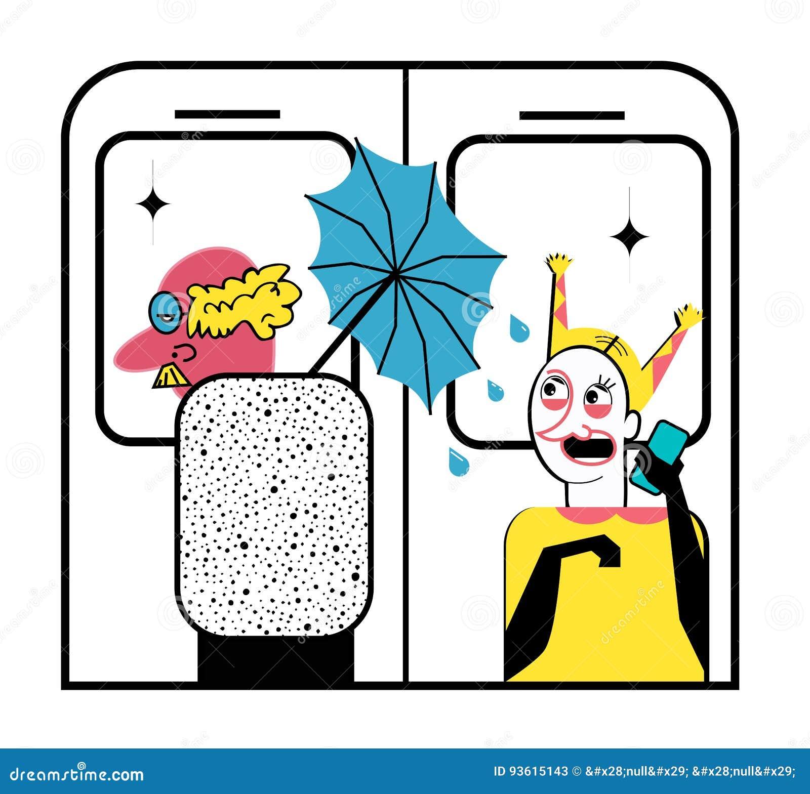 Gute Manieren Alter Mann Mit Einem Nassen Regenschirm In Der U-Bahn ...