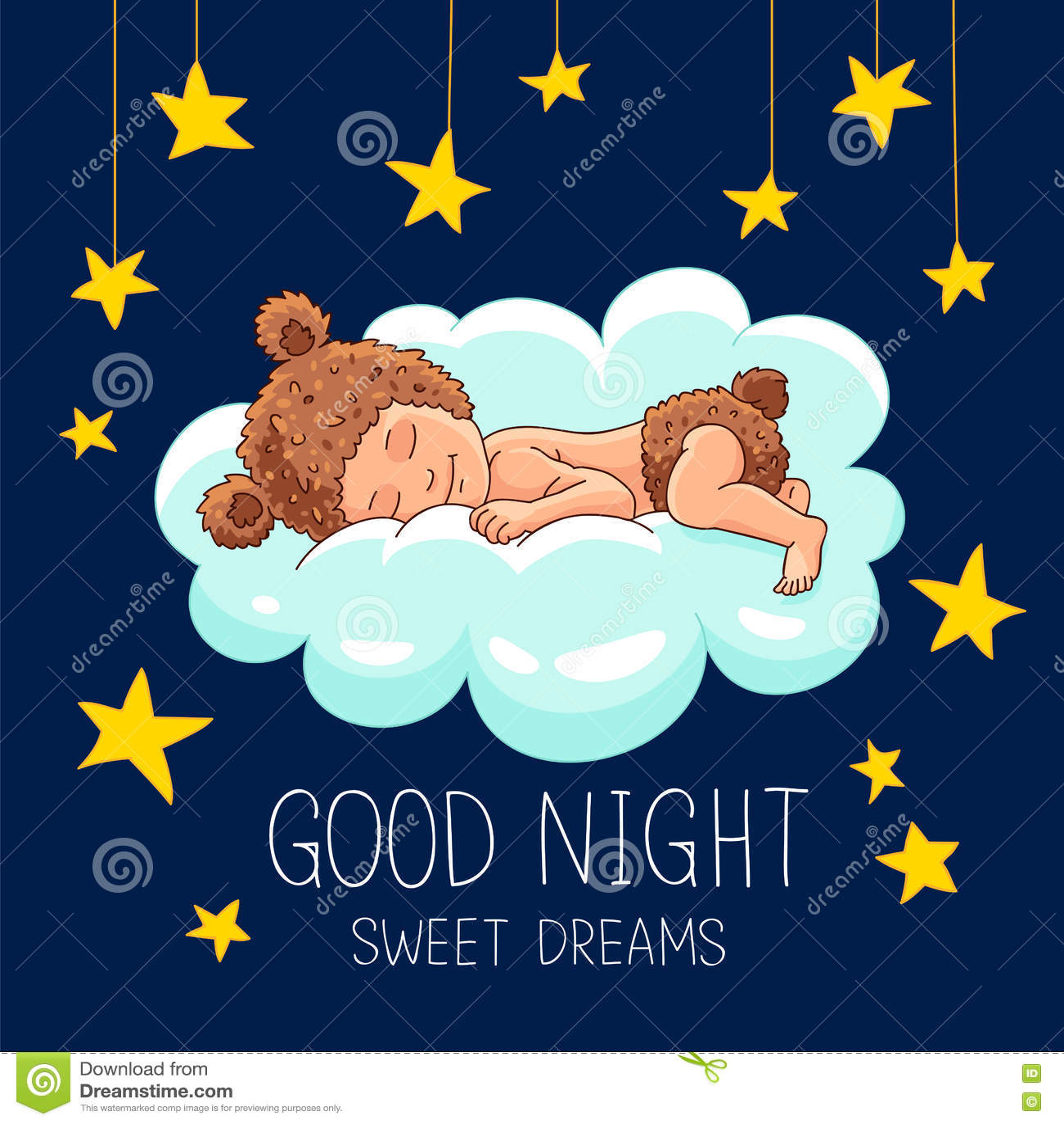 Gute Nacht Süße Träume vektor abbildung. Illustration von mädchen ...