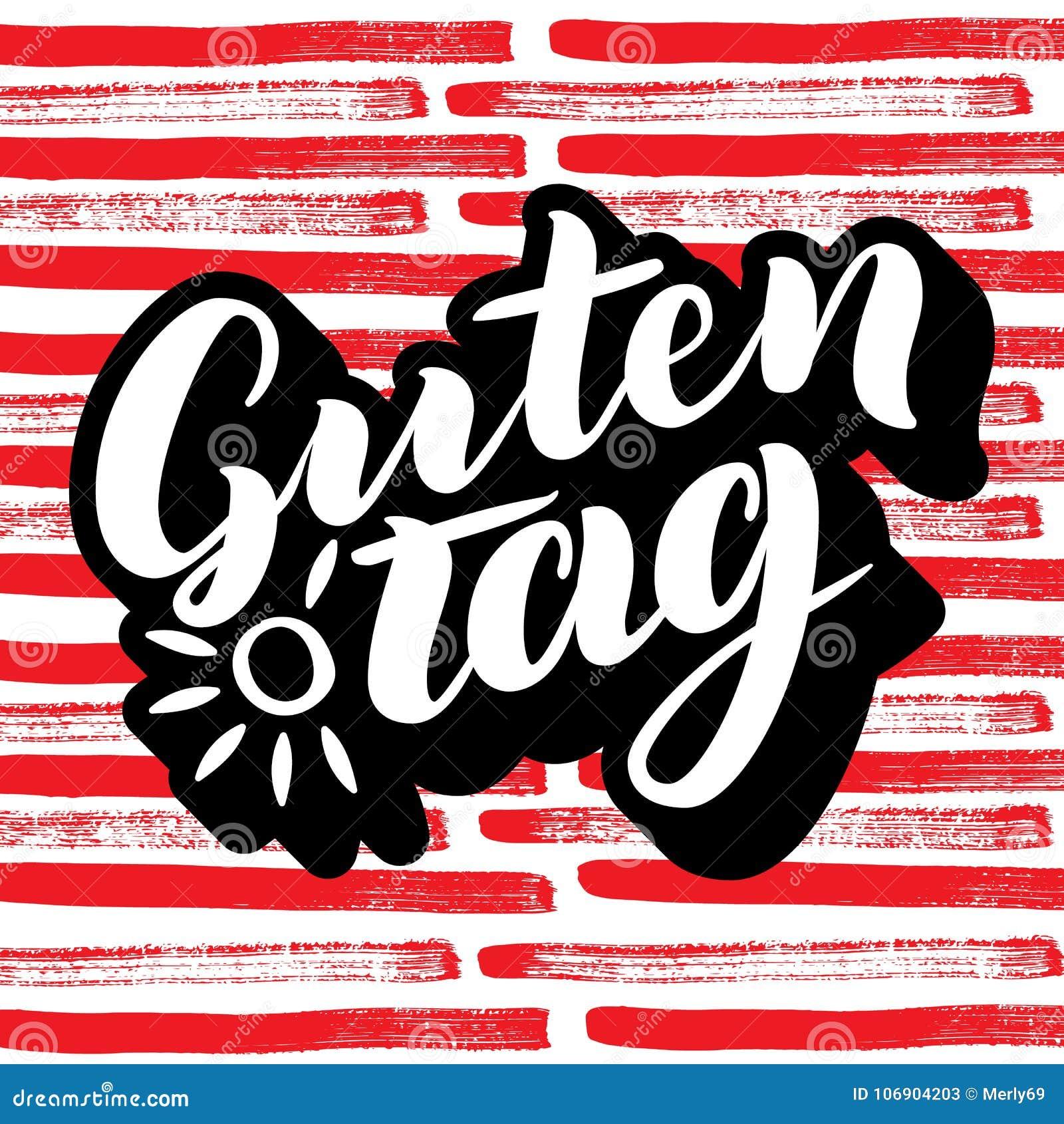 Guten etykietka Słowo cześć, dobry dzień w niemiec Modna kaligrafia Wektorowa ilustracja na kolorowym tle z słońcem remis