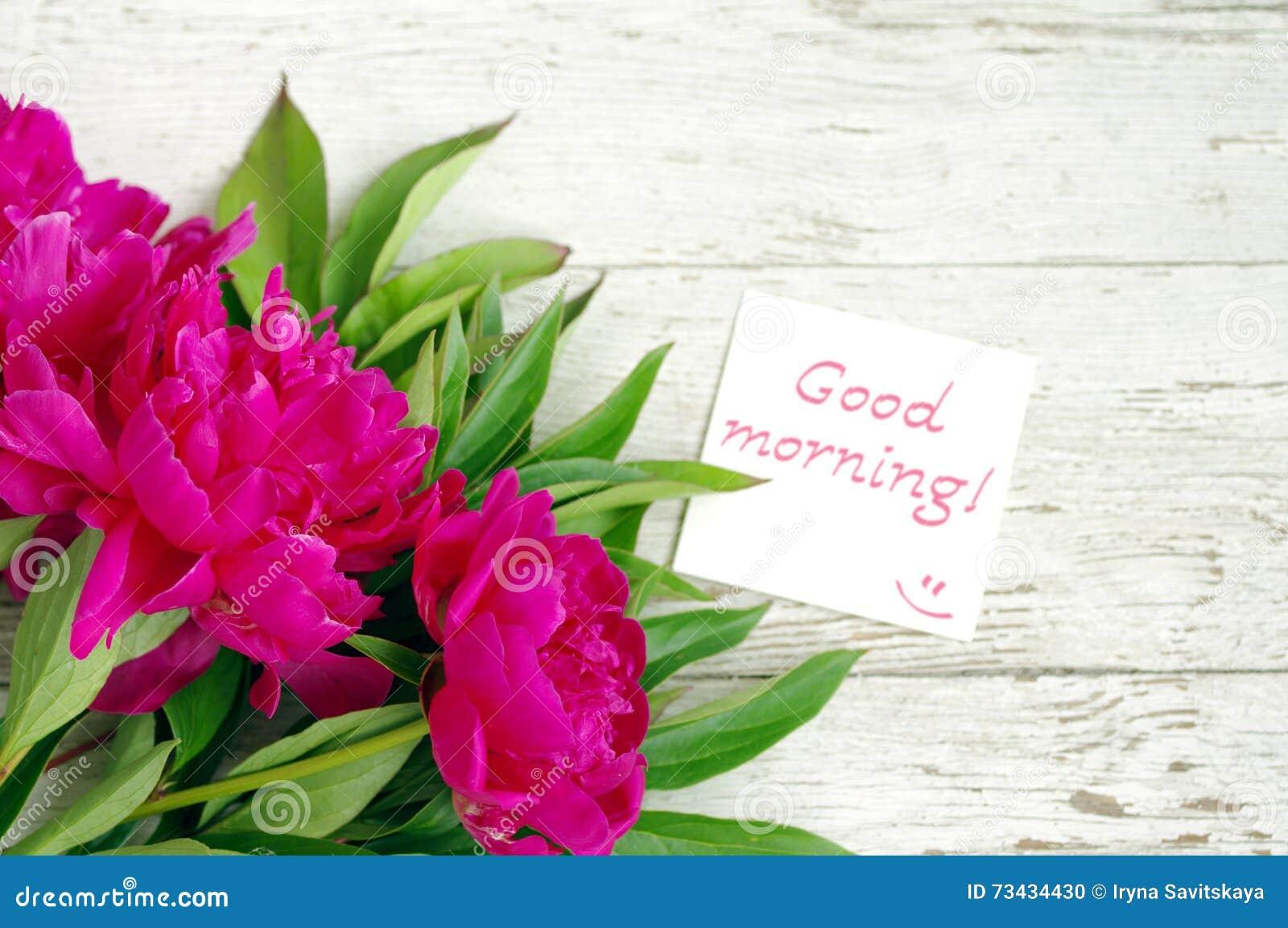 Guten Morgen Blumenstrauß Von Rosa Pfingstrosen Und Die