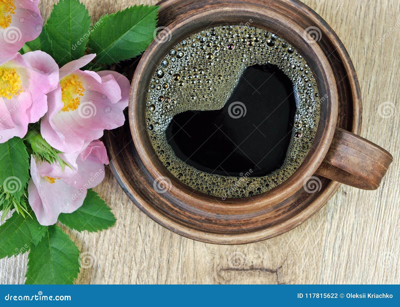 Guten Morgen Ein Tasse Kaffee Und Ein Rotes Wildes Stiegen Auf Einen