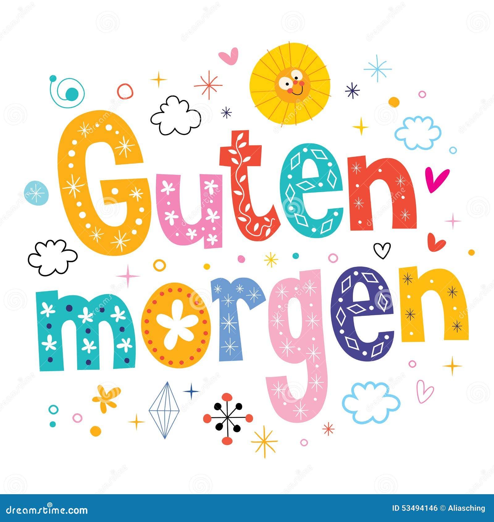Guten Morgen Good Morning Buenos Dias Lied : Guten morgen good morning in german stock vector