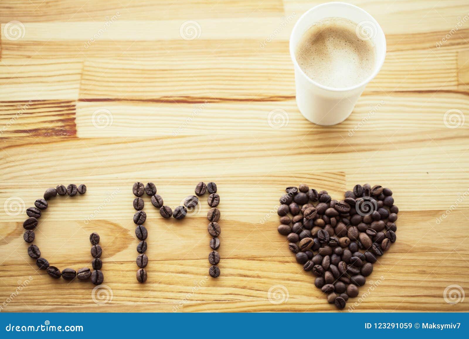 Guten Morgen Kaffee zum zu gehen Kaffeetassen mit Abdeckung und Kaffee sind