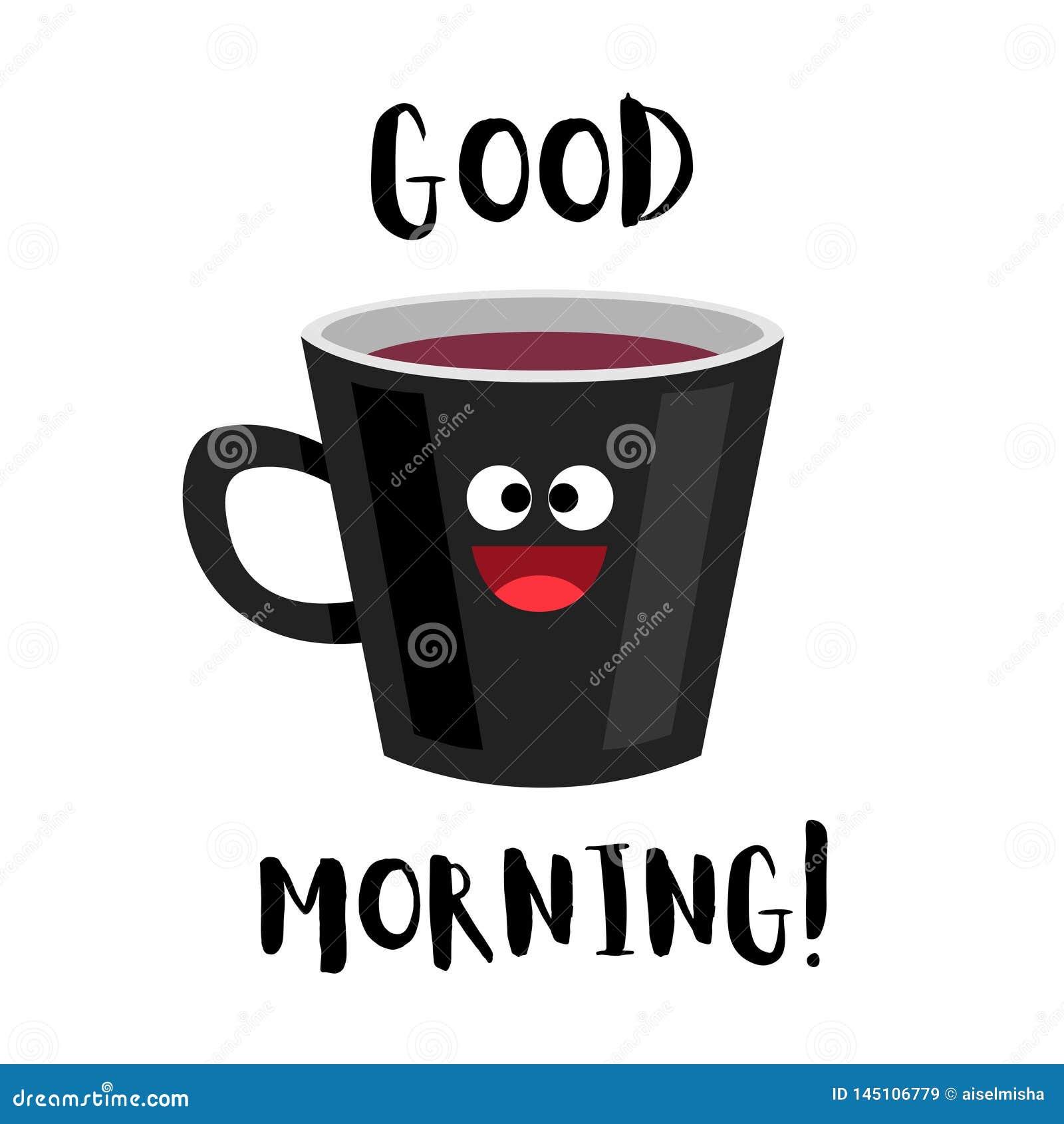 Guten Morgen Lustiger Tasse Kaffee Vektor Abbildung