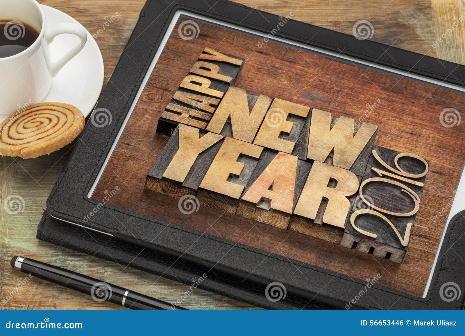 guten rutsch ins neue jahr 2016 auf tablette stockfoto bild 56653446. Black Bedroom Furniture Sets. Home Design Ideas