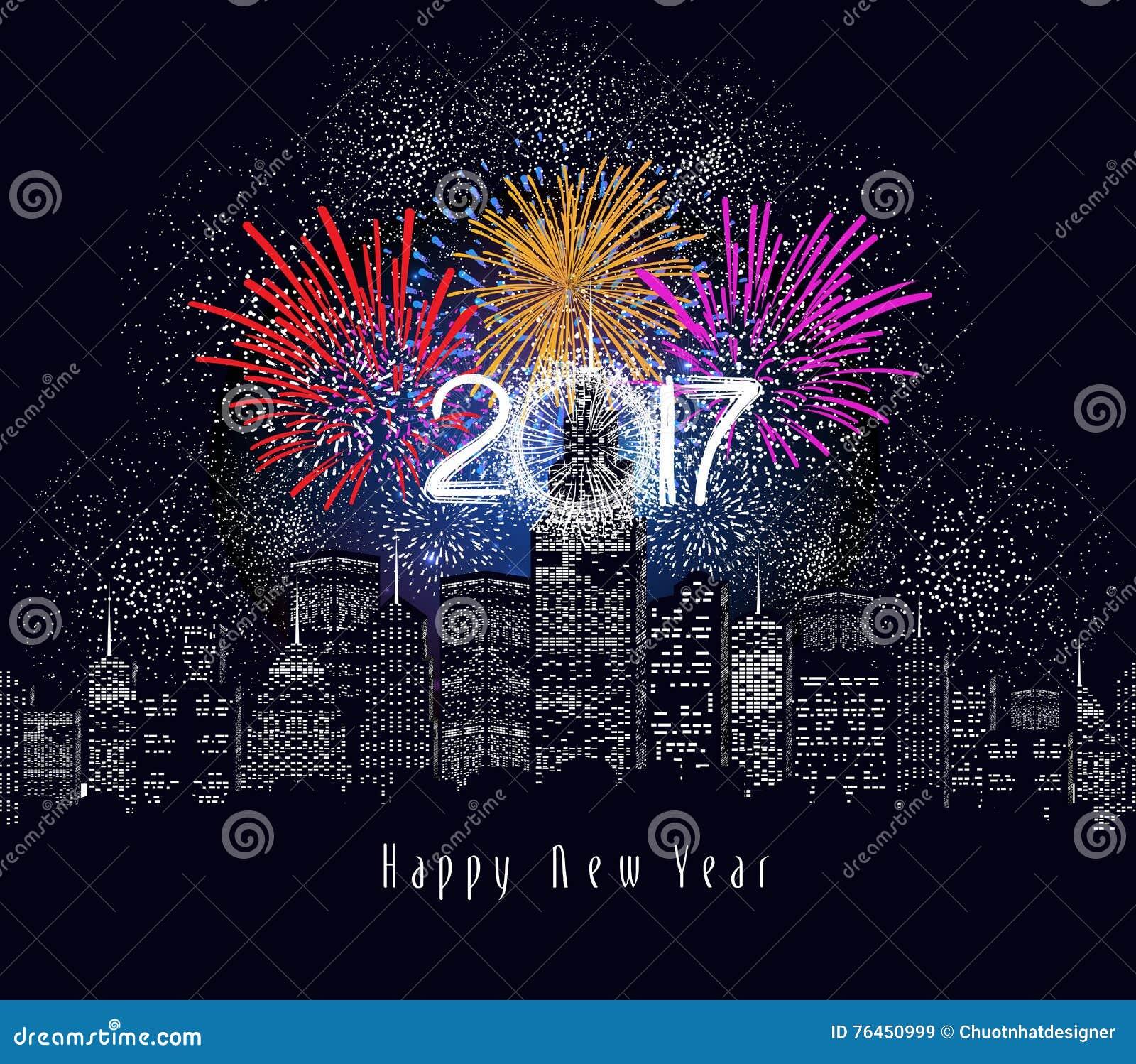 Guten Rutsch ins Neue Jahr-Feuerwerke 2017-Feiertags-Hintergrunddesign