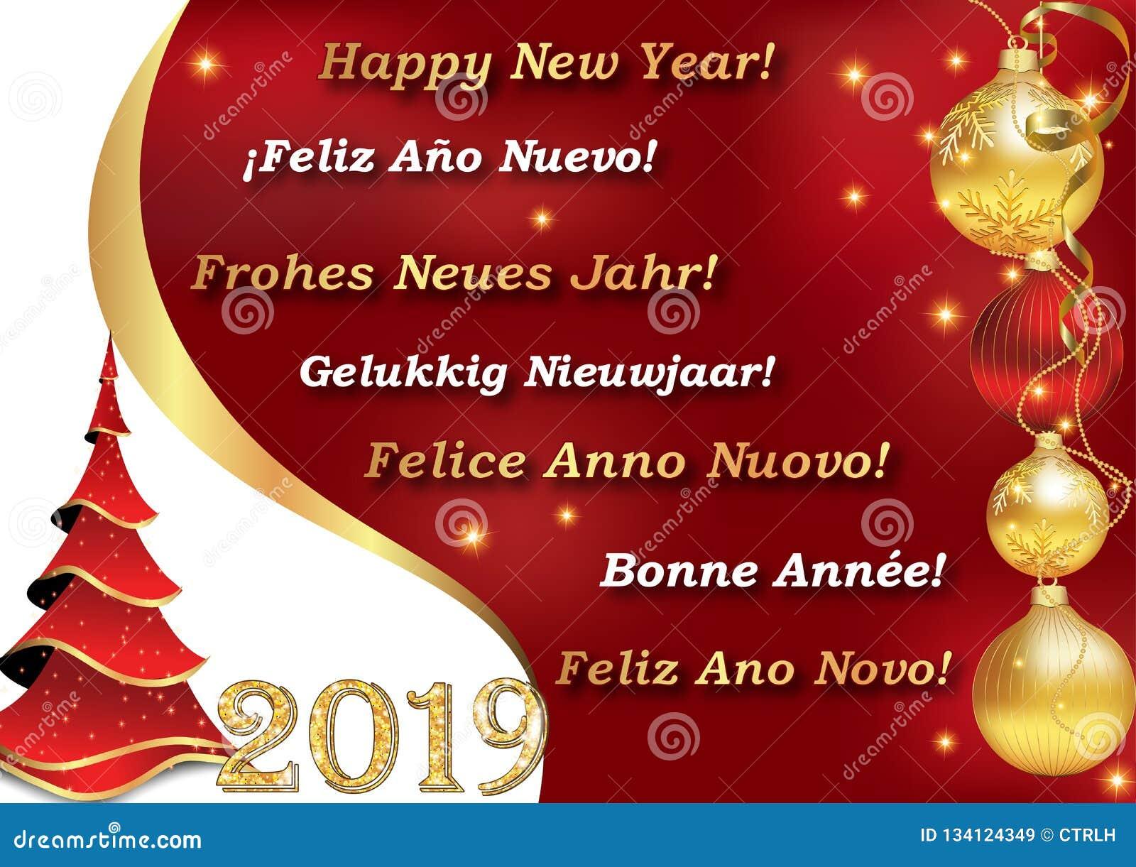 Frohe Weihnachten Und Ein Gutes Neues Jahr Holländisch.Guten Rutsch Ins Neue Jahr 2019 Geschrieben In 7 Sprachen Stock