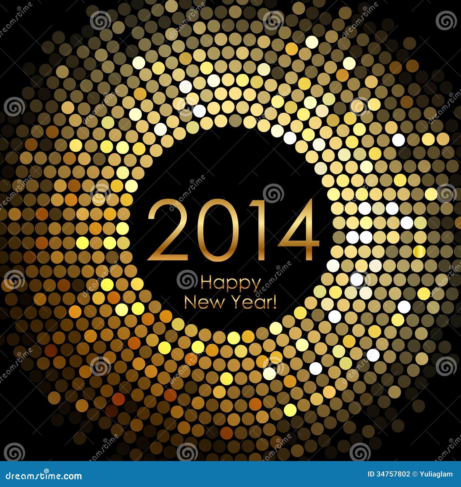 Guten Rutsch Ins Neue Jahr 2014 - Golddisco Beleuchtet Rahmen Vektor ...