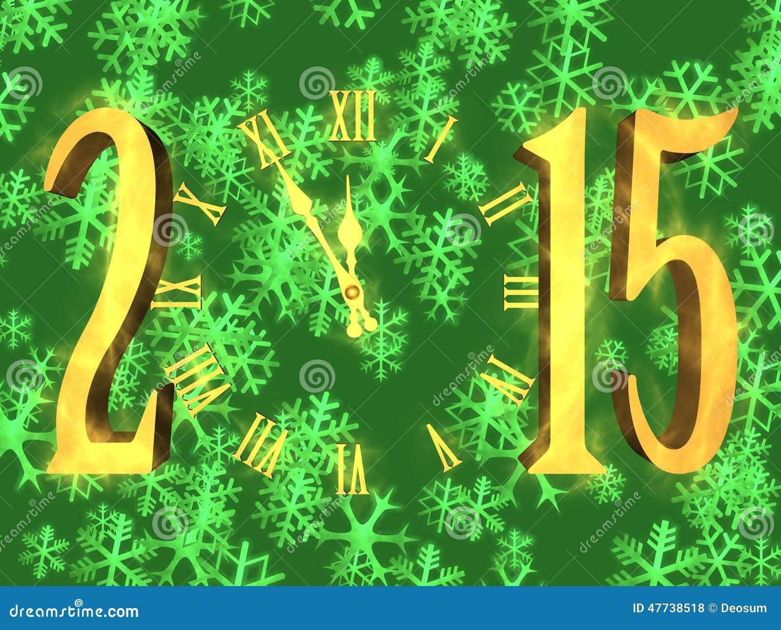 Guten Rutsch Ins Neue Jahr 2015 Grüßend - Uhr Und Schneeflocken ...