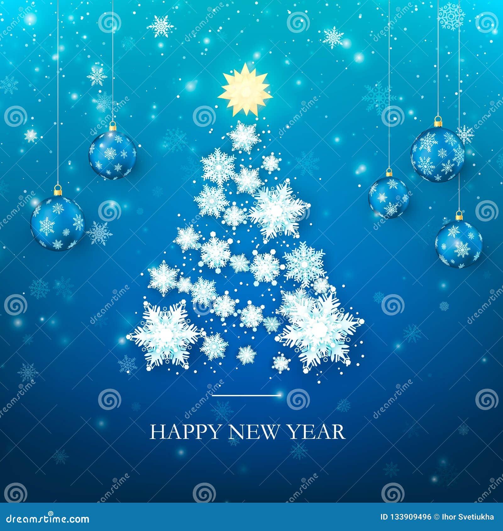 Guten Rutsch ins Neue Jahr-Gruß-Karte in den blauen Farben Weihnachtsbaum-Schattenbild von den Papierschneeflocken Glückliches ne