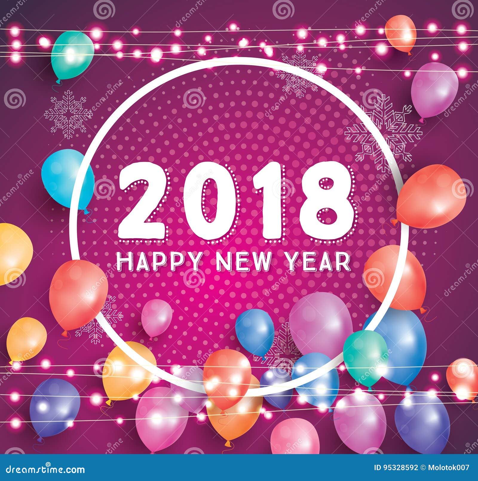 Guten Rutsch Ins Neue Jahr-Gruß-Karte 2018 Mit Fliegen-Ballonen ...