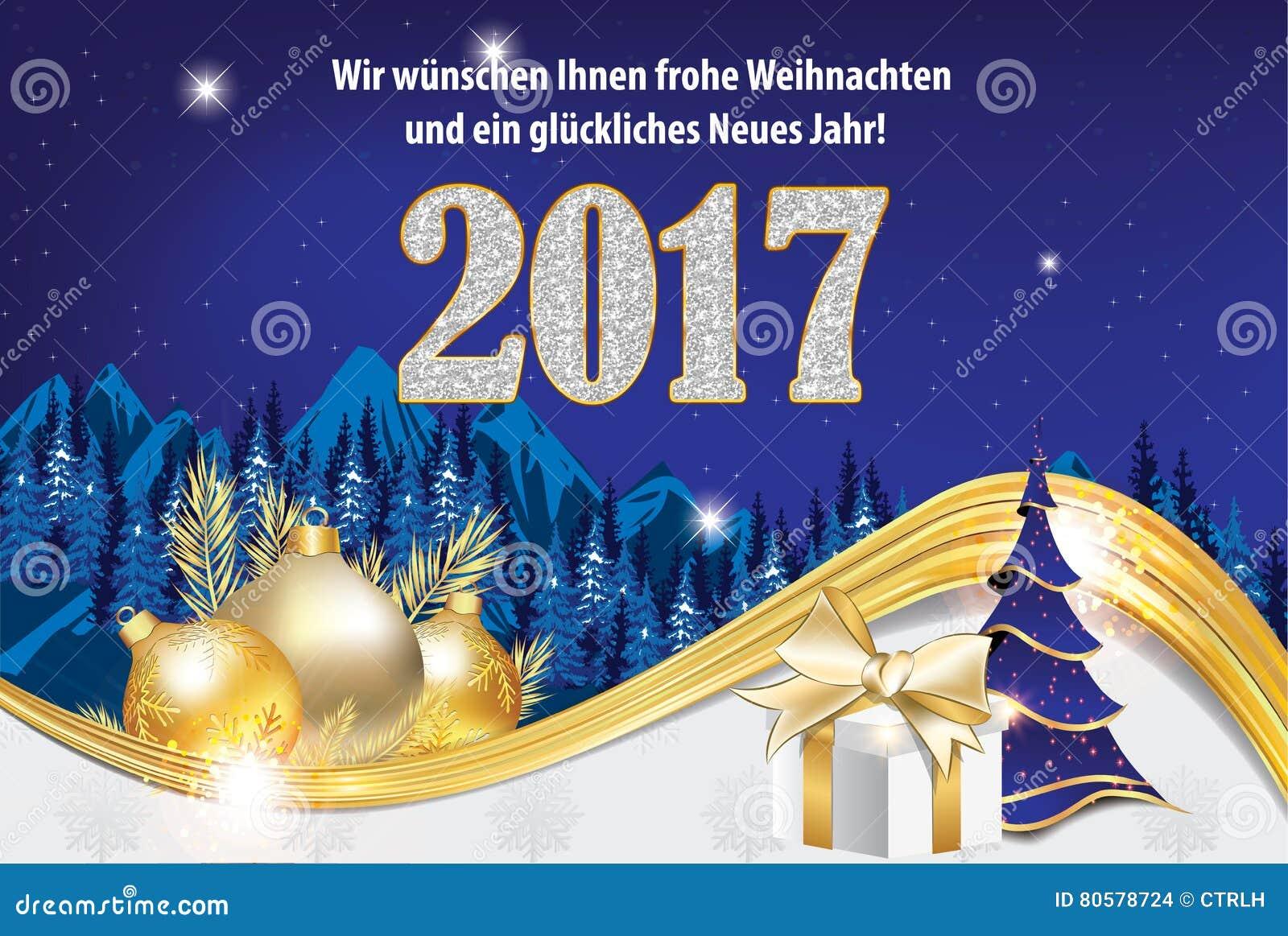 Guten Rutsch Ins Neue Jahr-Grußkarte 2017 In Der Deutschen Sprache ...