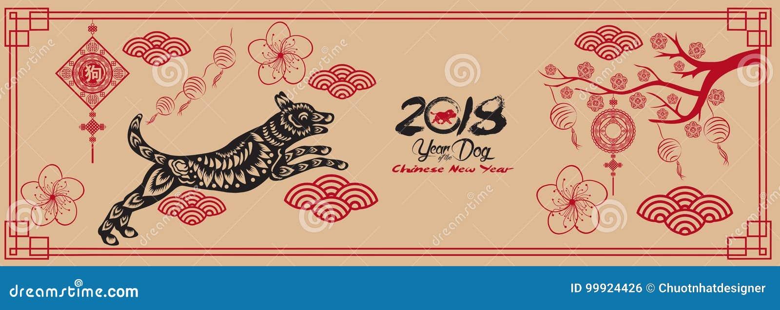 Guten Rutsch Ins Neue Jahr, Hund 2018, Chinesische Grüße Des Neuen ...