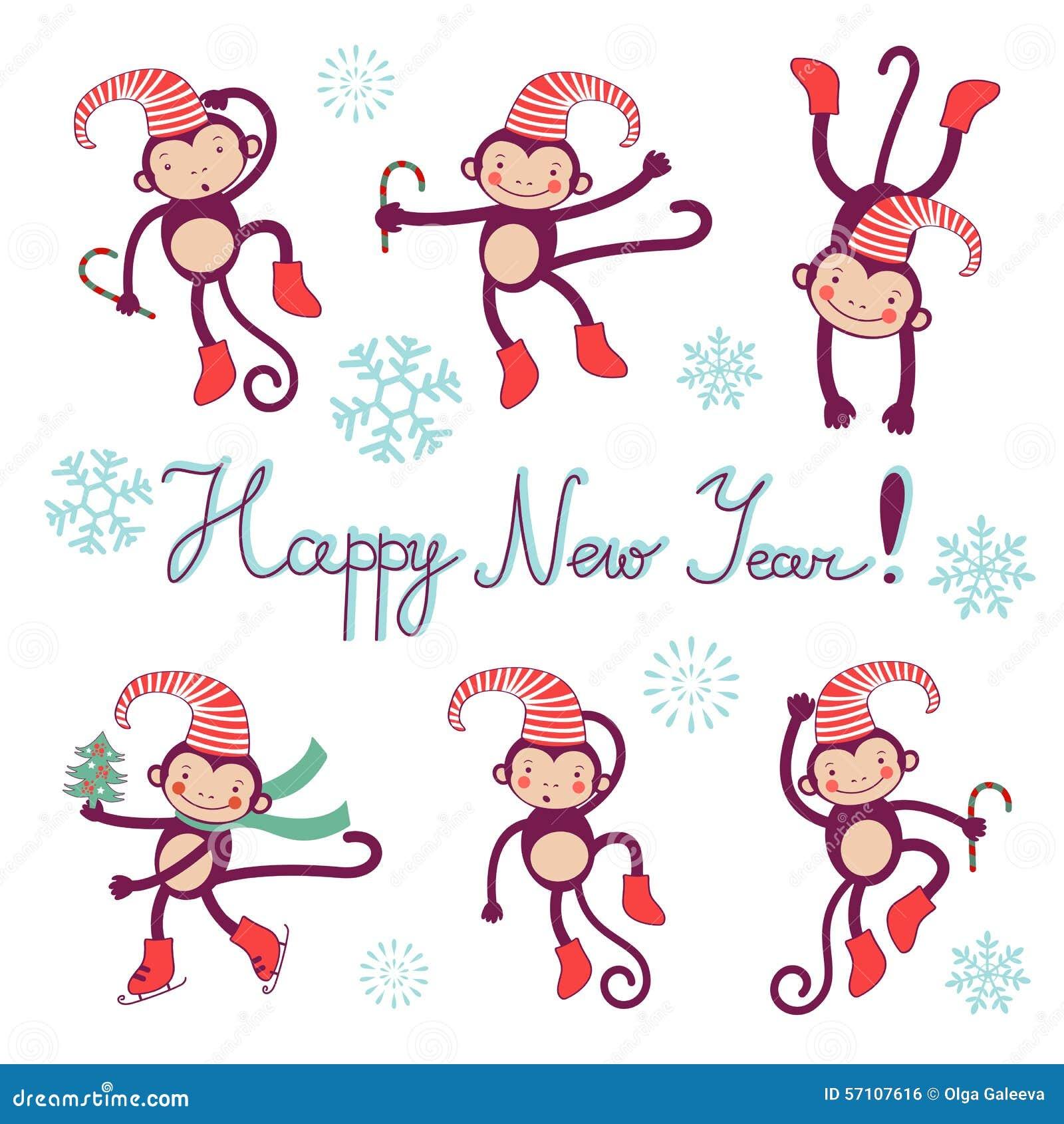 Guten Rutsch Ins Neue Jahr-Karte Mit Affen - Symbol Von 2016 Vektor ...