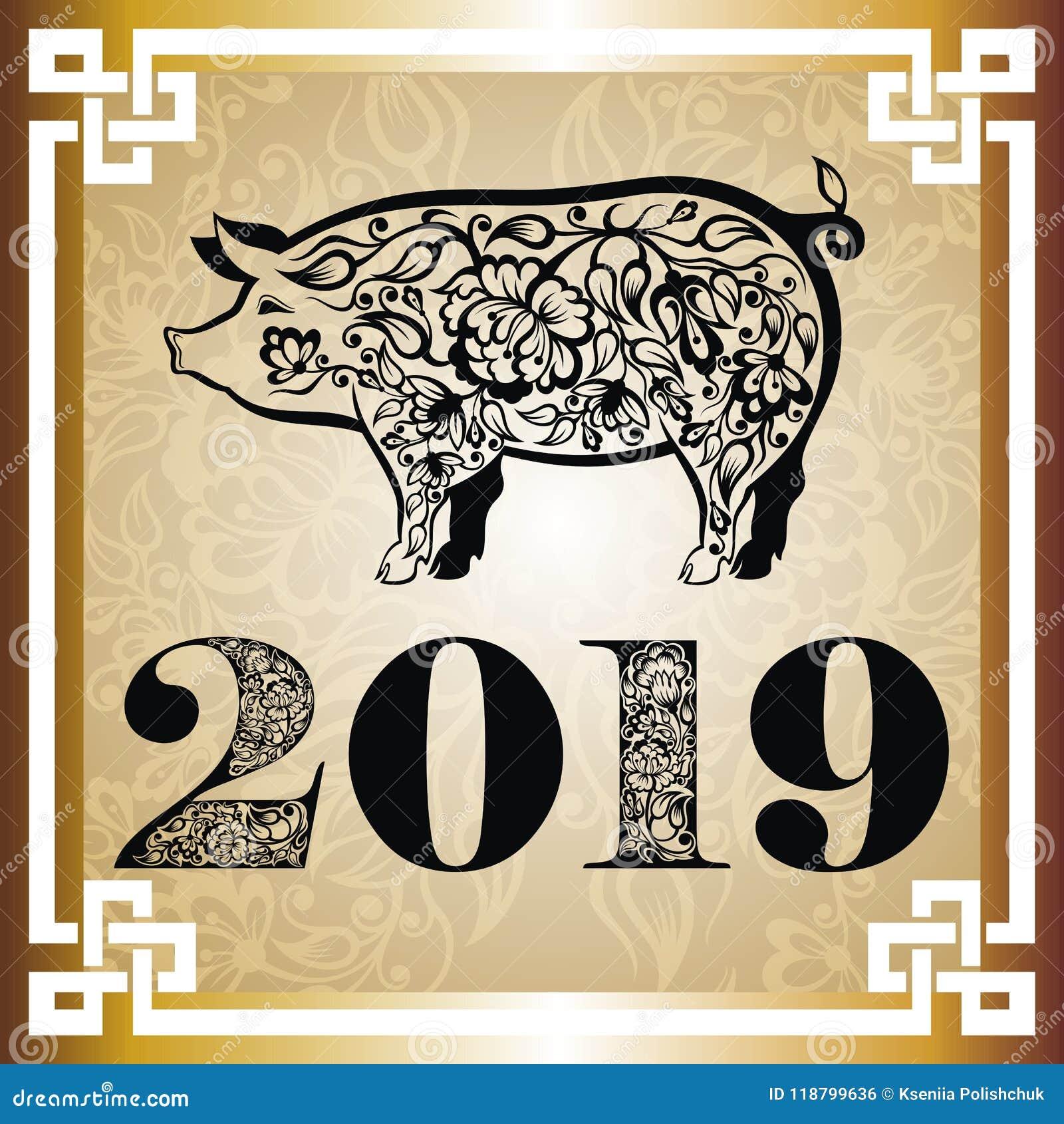 Guten Rutsch Ins Neue Jahr, Schwein 2019, Chinesische Grüße Des ...