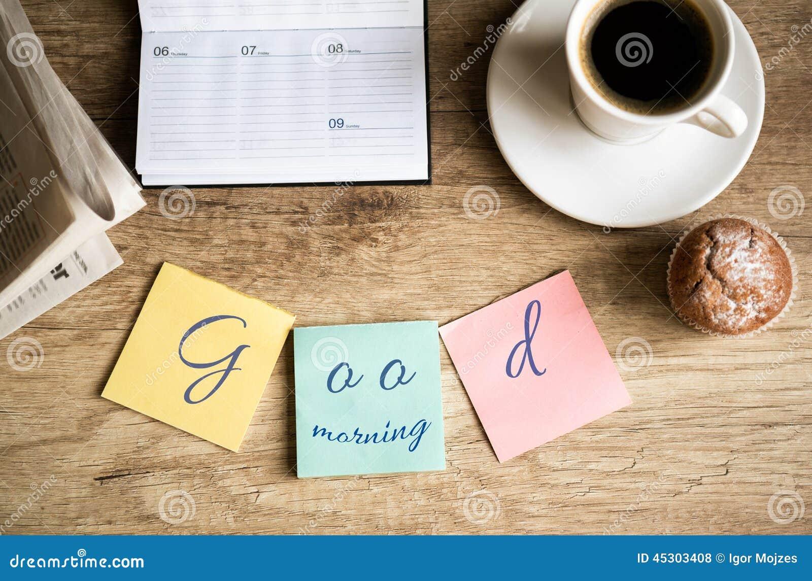 Gutenmorgen Auf Arbeit Stockfoto Bild Von Geräte Telefon
