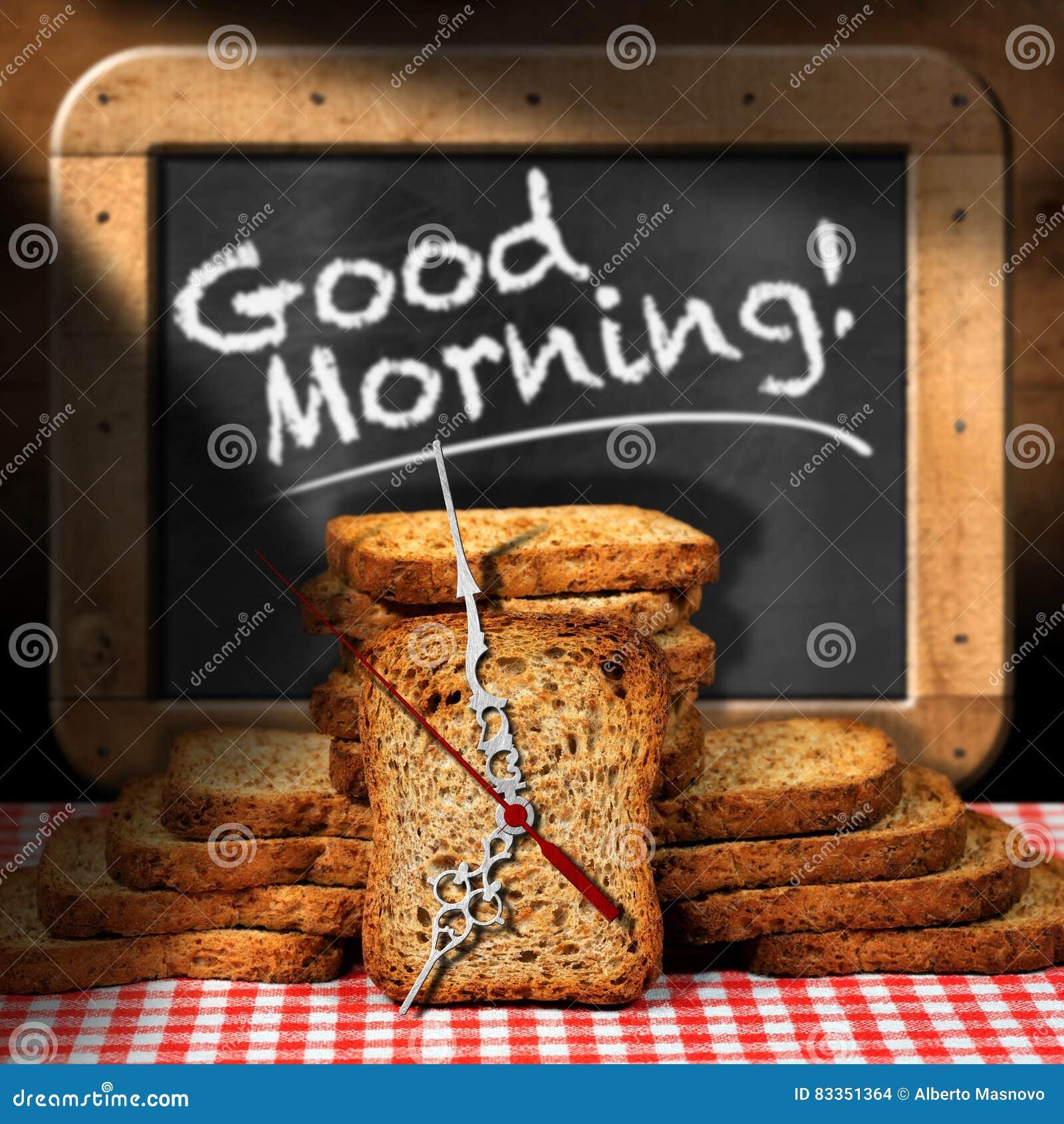 Ansprechend Guten Morgen Frühstück Dekoration Von Pattern Gutenmorgen - Frühstück Mit Zwiebacken Stock