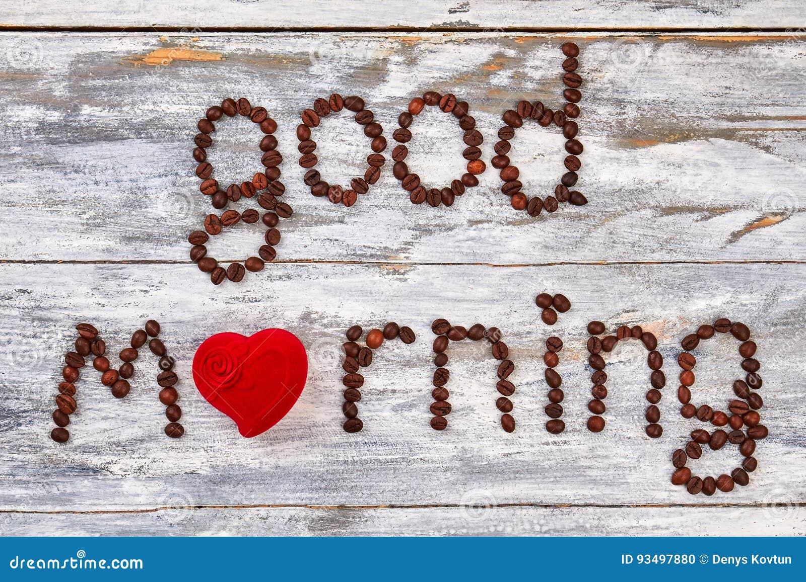 Gutenmorgen Vom Herzen Stockfoto Bild Von Neigung