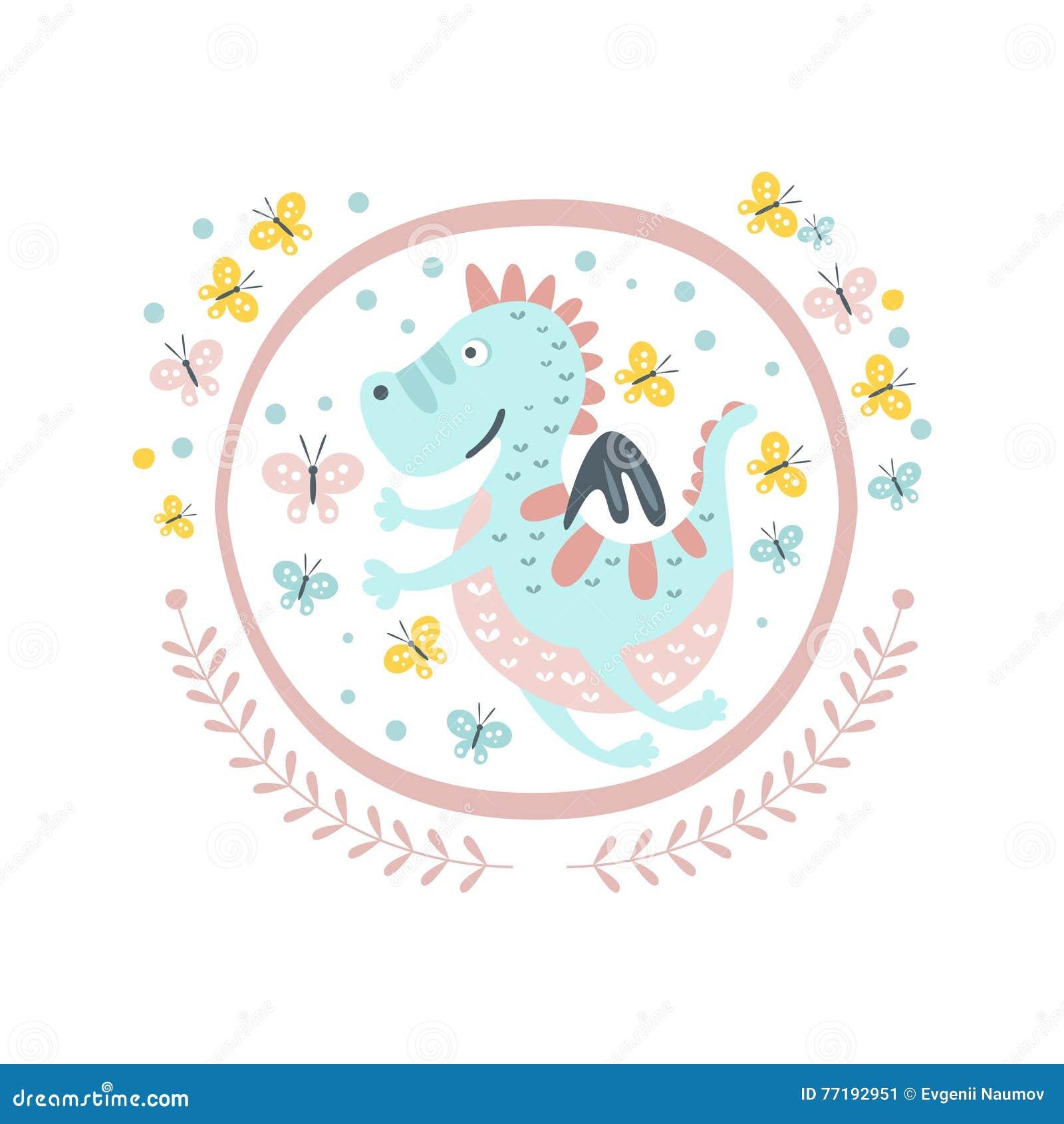Guter Dragon Fairy Tale Character Girly-Aufkleber Im Runden Rahmen ...
