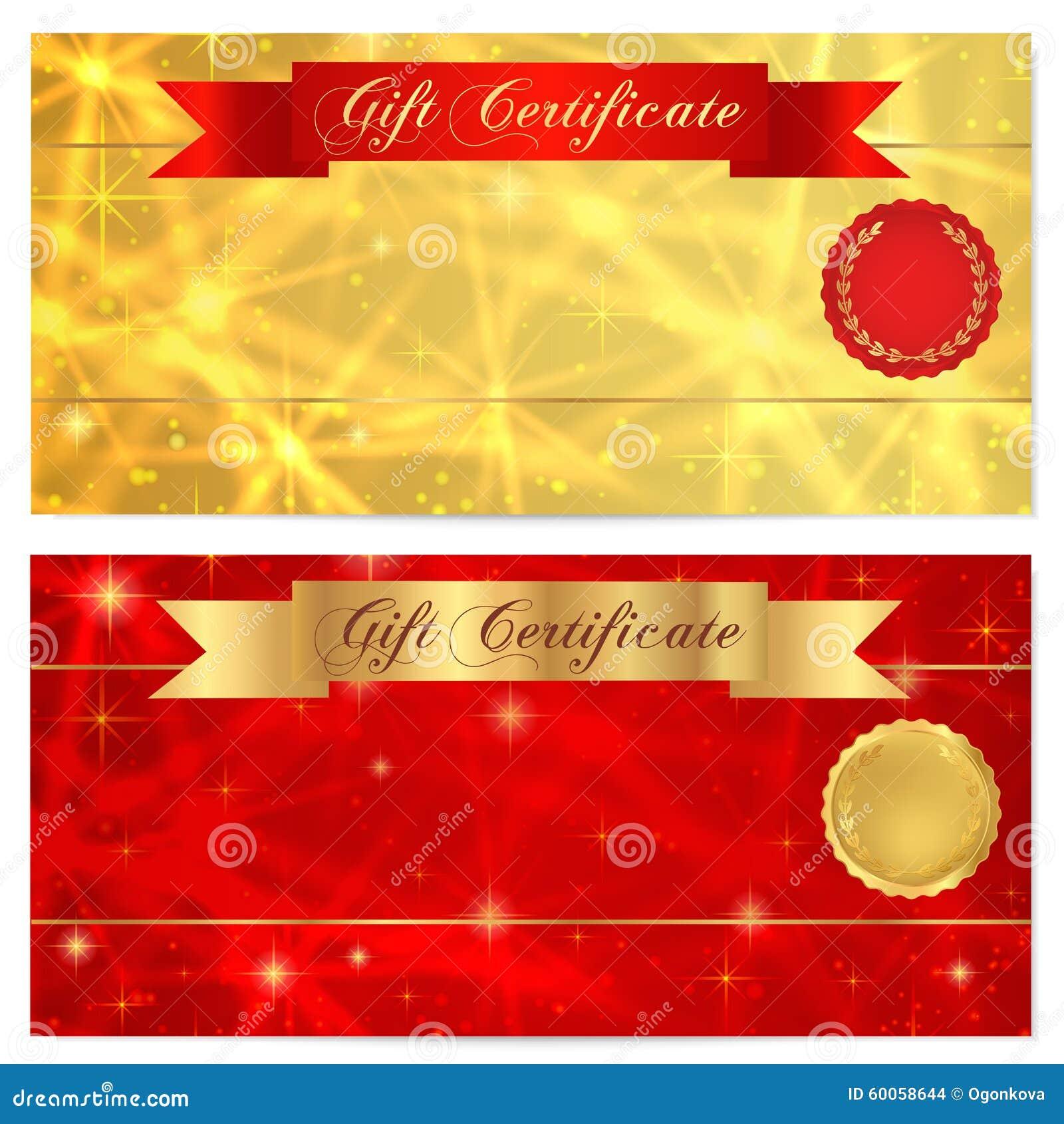 Gutschein-, Beleg-, Kupon-, Belohnungs- oder Gutscheinschablone mit dem Funkeln, funkelnd spielt Beschaffenheit, rotes Band die H